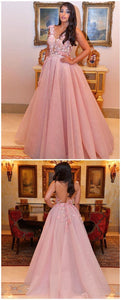 A-line Scoop Long Prom Dress Lace Long Prom Dresses Evening Dress,D0501