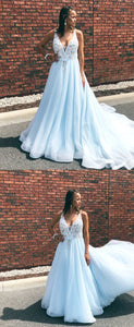 Gorgeous V Neck Light Sky Blue Long Ball Gown with Floral Prom Dresses,D0502