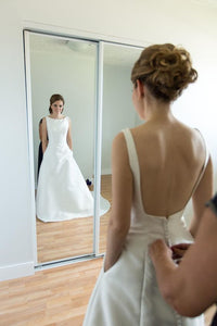 Bateau Neckline White Satin Wedding Dress with Low Back,D0503