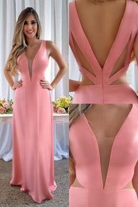 Deep V Neck Pink Satin Sheath Long Prom Dress Formal Dress Evening Gown,D0504