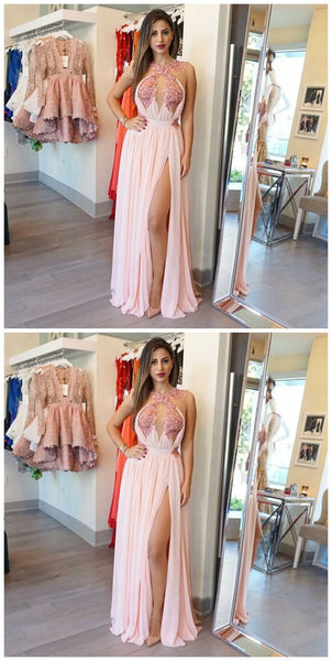 A-Line Round Neck Keyhole Pink Chiffon Prom Dress with Appliques,D0506