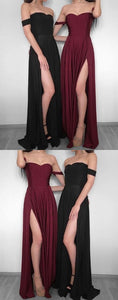 Simple Off The Shoulder A-Line Prom Dress,Long Evening Dress,2018 Split Long Prom Dresses, D0509