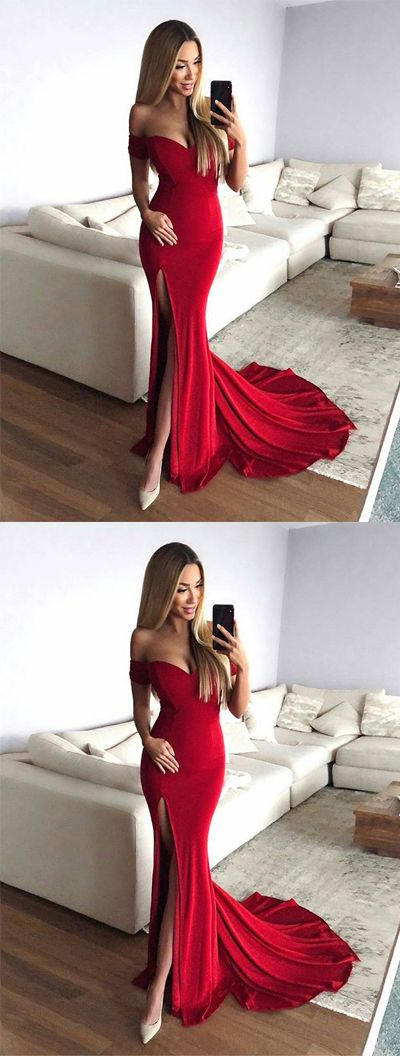 Hot Sexy Mermaid Off-Shoulder Red Long Prom/Evening Dress with Split Front,D0514