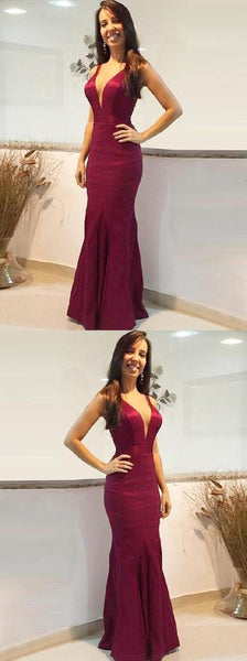 V-neck Prom Dress, Prom Dress Red, Prom Dresses 2019, Red Mermaid Prom Dress, Prom Dress Backless, Prom Dress Long , D0515
