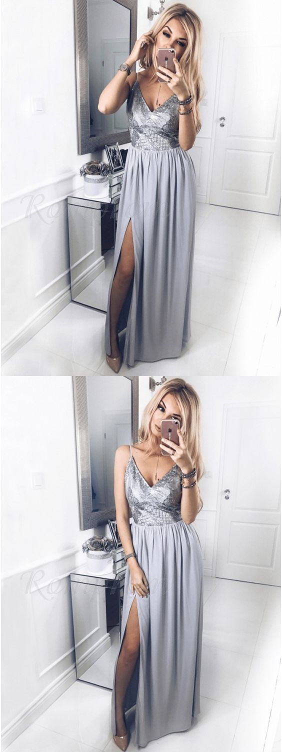A-Line Spaghetti Straps Floor-Length Grey Prom Dress with Sequins Split,D0516