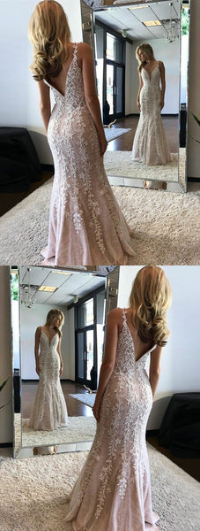 Unqiue V Neck Mermaid Prom Dresses, Stunning Evening Dresses With Appliques, Elegant V Back Party Dresses ,D0518