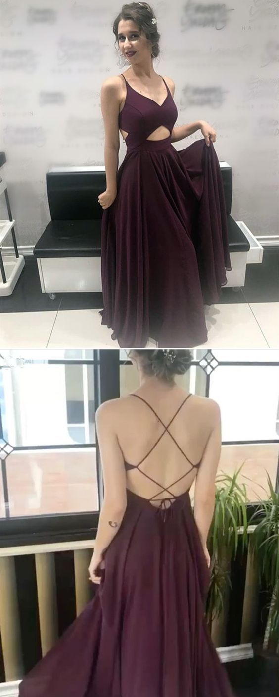 Chic V Neck Cross Back Long Prom Dress, Burgundy Formal Evening Gowns , D0519