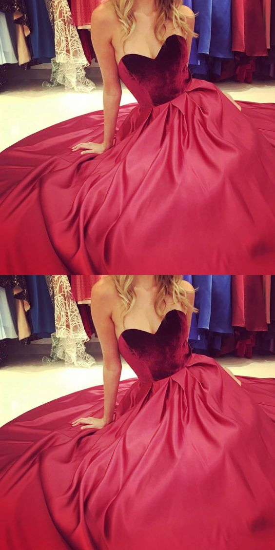Strapless Burgundy Long Ball Gown, D0523