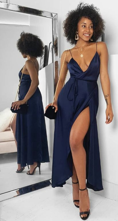 sexy navy blue long prom dress with side slit, 2019 prom dress with spaghetti straps, navy blue wrap dress, D0525