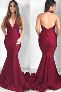 Sexy Deep V Neck Halter Wine Red Mermaid Long Evening Dress,D0530
