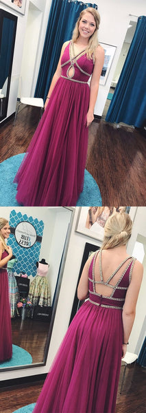 A-line long prom dress, 2018 prom dress, fuchsia long prom dress, formal evening dress, D0533