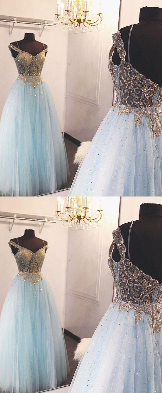ball gown, 2018 prom dress, long prom dress, off the shoulder prom dress, light sky blue prom dress, formal dress,D0534