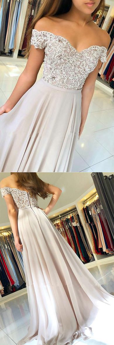Chiffon Off the Shoulder Beaded Lace Long Prom Dresses Evening Gowns, D0535