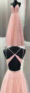 Blush Lace A-line V Neck Open Back Spaghetti Straps Long Prom Dresses,D0536