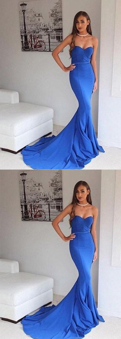 Sweetheart Blue Mermaid Classy Handmade Backless Long Prom Dresses,D0538