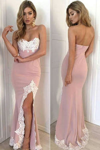 Pink Fitted Prom Dress,Sweetheart Slit Formal Gown With Lace Appliques,D0539