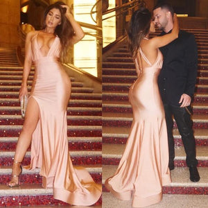 Sexy Evening Dress Sheath Light Champagne Deep V-neck Side Slit Backless Evening Dreses Prom Dress,D0542