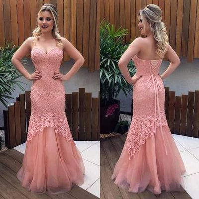 Trumpet/Mermaid Prom Dresses,Pink Sweetheart Applique Floor Length Tulle Evening Dress Prom Dresses,D0544