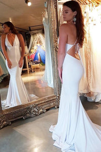 Charming Mermaid V Neck Open Back Spaghetti Straps White Long Prom Dresses, Elegant Evening Dresses, D0545