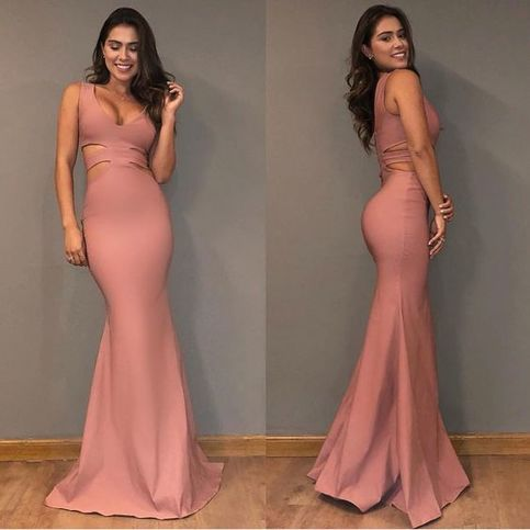 new pink v-neck prom dress,sexy evening dress,mermaid sheath prom dress simple style 2019 new,D0546