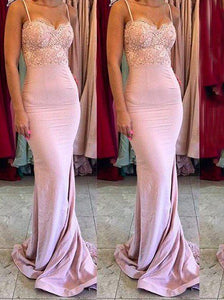 Pink Gorgeous Spaghetti Straps Mermaid Lace Backless Long Bridesmaid Dress,D0548