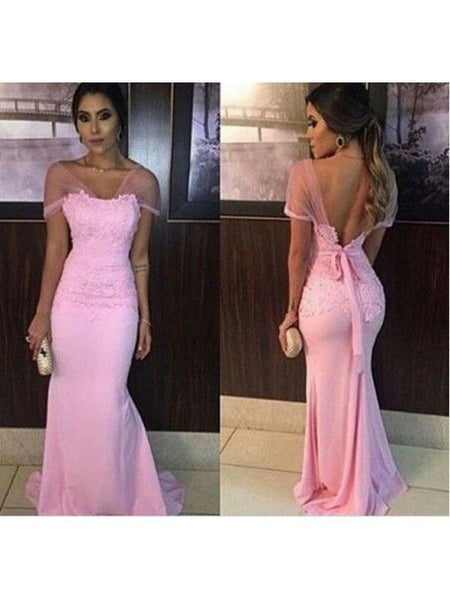 Mermaid Long Pink Lace Appliques Prom Formal Evening Party Dresses , D0553