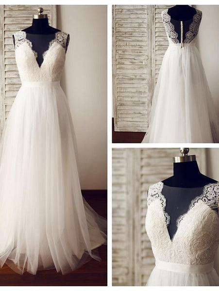 Lace Tulle White Elegant Party Gowns, Wedding Gowns, Bridal Gowns, D0557