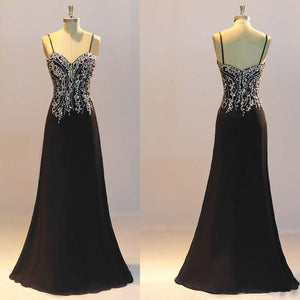 Black A-line Beaded Spaghetti Strap Floor Length Gown, Black Evening Gowns, Elegant Party Dress, D0560
