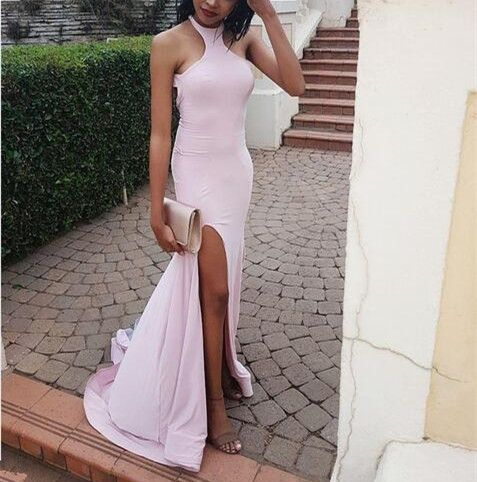 Pink Haler Cross Back Spandex Prom Dresses, Sexy Pink Gowns, Prom Dresses, D0561