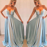 Gorgeous Blue Spaghetti Straps Sleeveless Party Dress Prom Dress, D0563