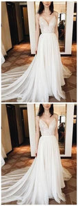 Spaghetti Straps V Neck Ivory Soft Tulle Cheap Long Evening Prom Dresses, Cheap Sweet 16 Dresses, D0566