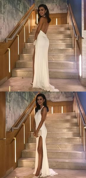 White Halter Jersey Prom Dresses, Backless Slit Mermaid Sexy Prom Dresses, D0571