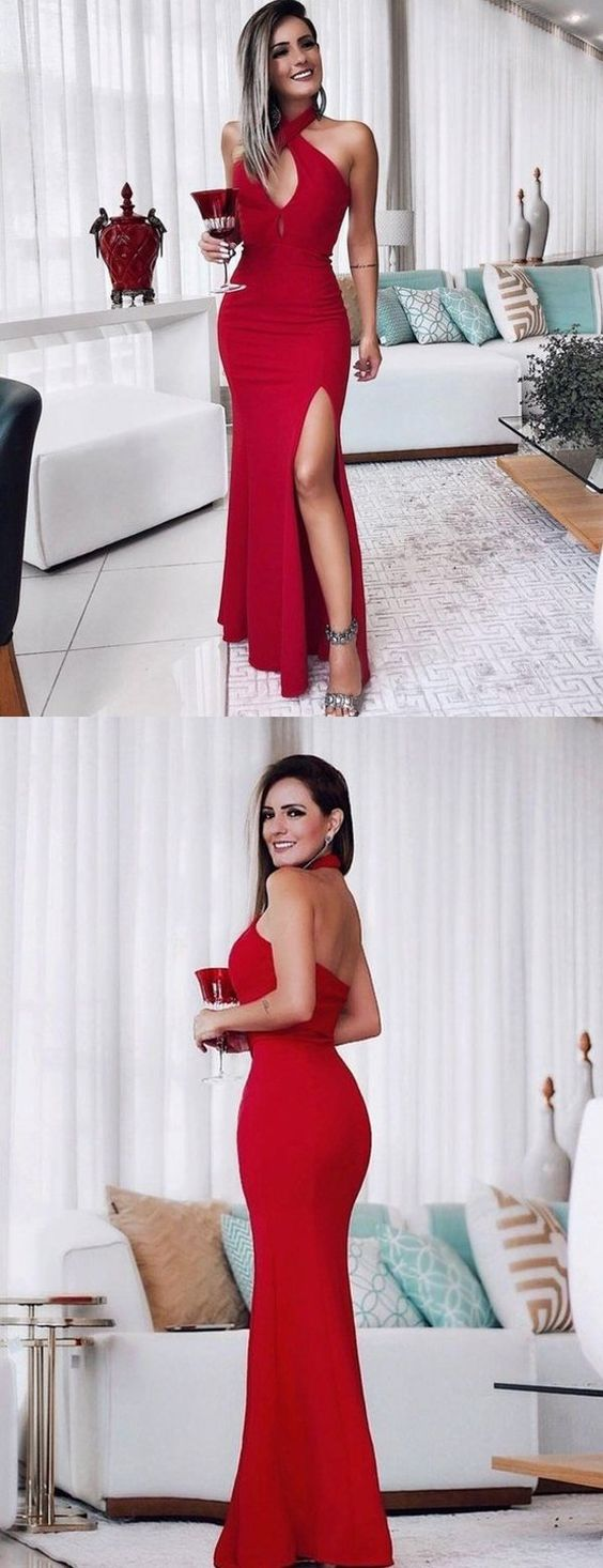 Halter Red Mermaid Backless Sexy Slit Prom Dresses, D0572