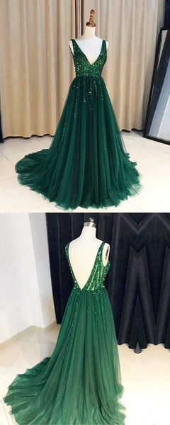 Green V-Neck Prom Dress, Tulle Backless Beaded Charming Prom Dress, D0573