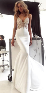 Charming Lace Sexy Backless Mermaid Jersey Prom Dresses, D0574