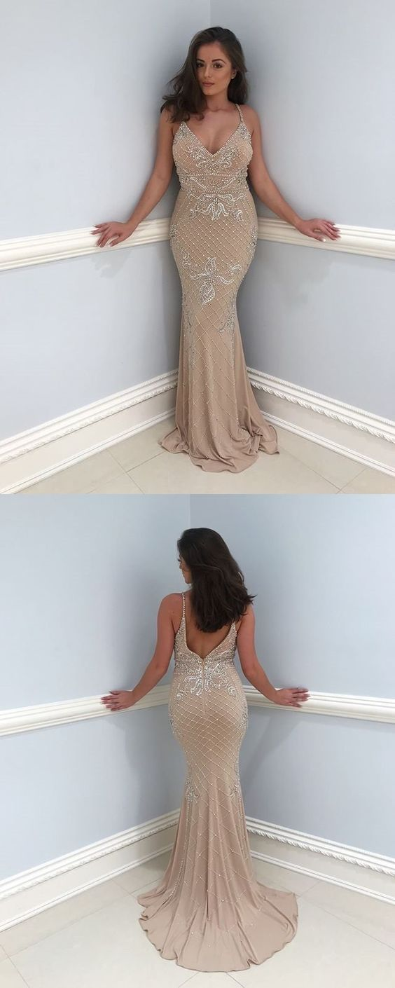 Sexy V-Neck Mermaid Jersey Backless Beaded Prom Dresses, D0575