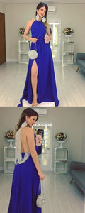 Simple A-Line Backless Beaded Slit Long Sleeveless Prom Dresses, D0576