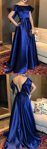 Off Shoulder Satin Long Prom Dresses, Cheap A-Line Backless Prom Dress, D0580