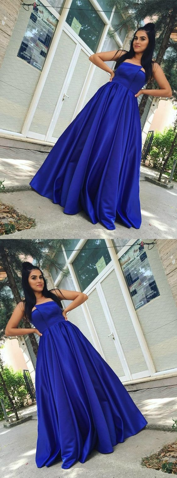 Gorgeous Royal Blue Simple Prom Dress, Sexy Backless Satin A-Line Prom, D0582