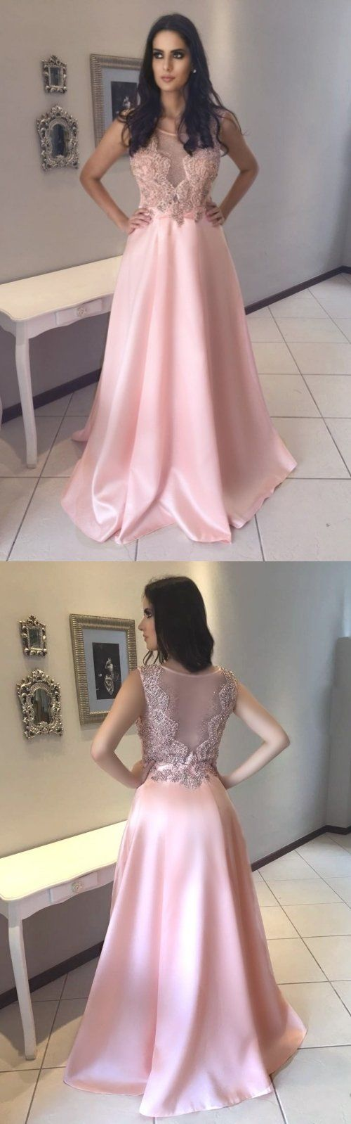 Pink Satin A-Line Sleeveless Prom Dresses, Tulle Long Beaded Prom Dresses, D0583
