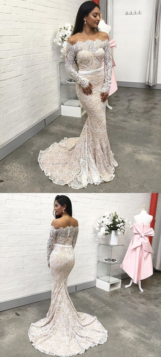 Sexy Backless Mermaid Prom Dress, Elegant Lace Long Sleeve Prom Dress, D0584