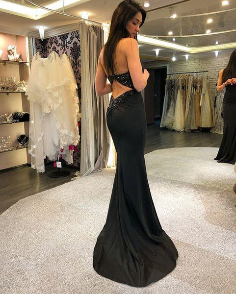 Black Charming Jersey Prom Dresses, Backless Mermaid Beaded Prom Dresses, D0586