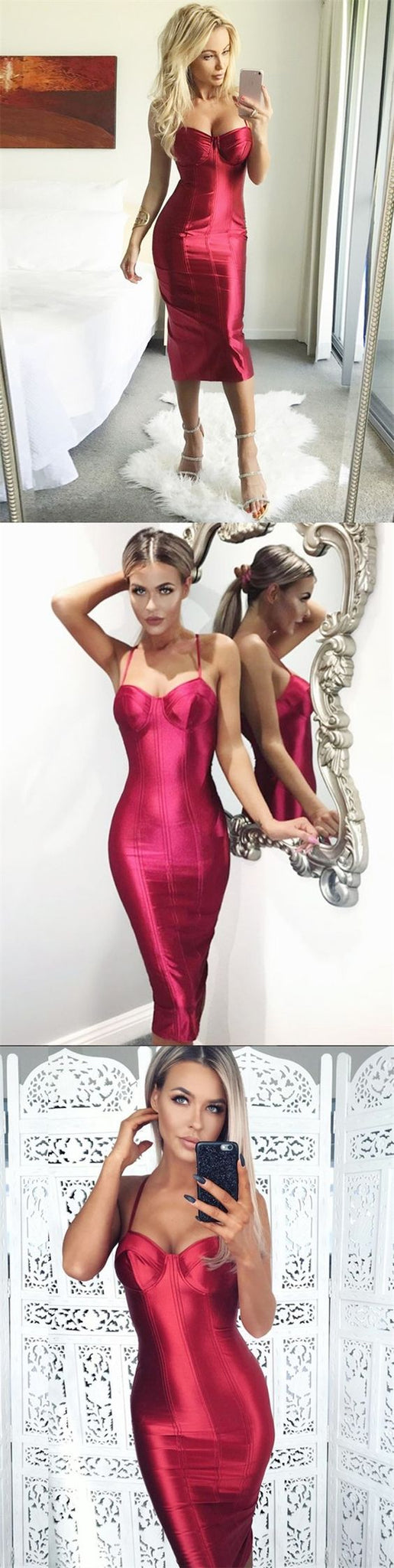 Sheath Spaghetti Straps Mid-Calf Red Stretch Satin Prom Dress, D0588