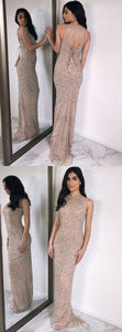 Sheath Round Neck Light Champagne Prom Dress with Sequins, D0592