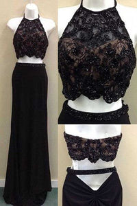 Sexy Black Chiffon Two Piece Lace Sequins Beaded Long Prom Dresses, D0600