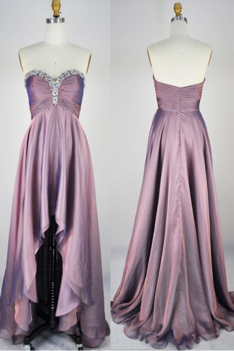 Custom Made Purple Sequin Embellished Sweetheart Neckline Ruched High Low Prom Dress, D0602