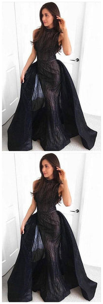 Mermaid Round Neck Floor-Length Black Detachable Prom Dress, Modest Black Evening Gowns, Unique Stunning Party Dresses, D0605