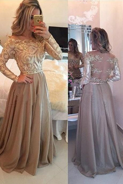 Chiffon Prom Dresses, Floor Length Prom Dresses, Gold Evening Dress, Long Sleeves Prom Dress, Long Prom Dress, Backless Prom Dress, Lace Embroidery Prom Dresses,Prom Dresses, D0606