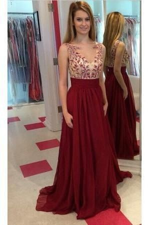Long Prom Dress, Chiffon Prom Dresses 2019, Lace Prom Gowns, Applique Prom Dresses, Floor Length Prom Dress, Sleeveless Evening Gowns, Burgundy Prom Dresses, Prom Dresses, D0607