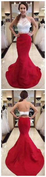Two Pieces Mermaid Prom Dresses Halter Neck Red Satin Dresses Lace Appliques Women Formal Party Dresses, D0610